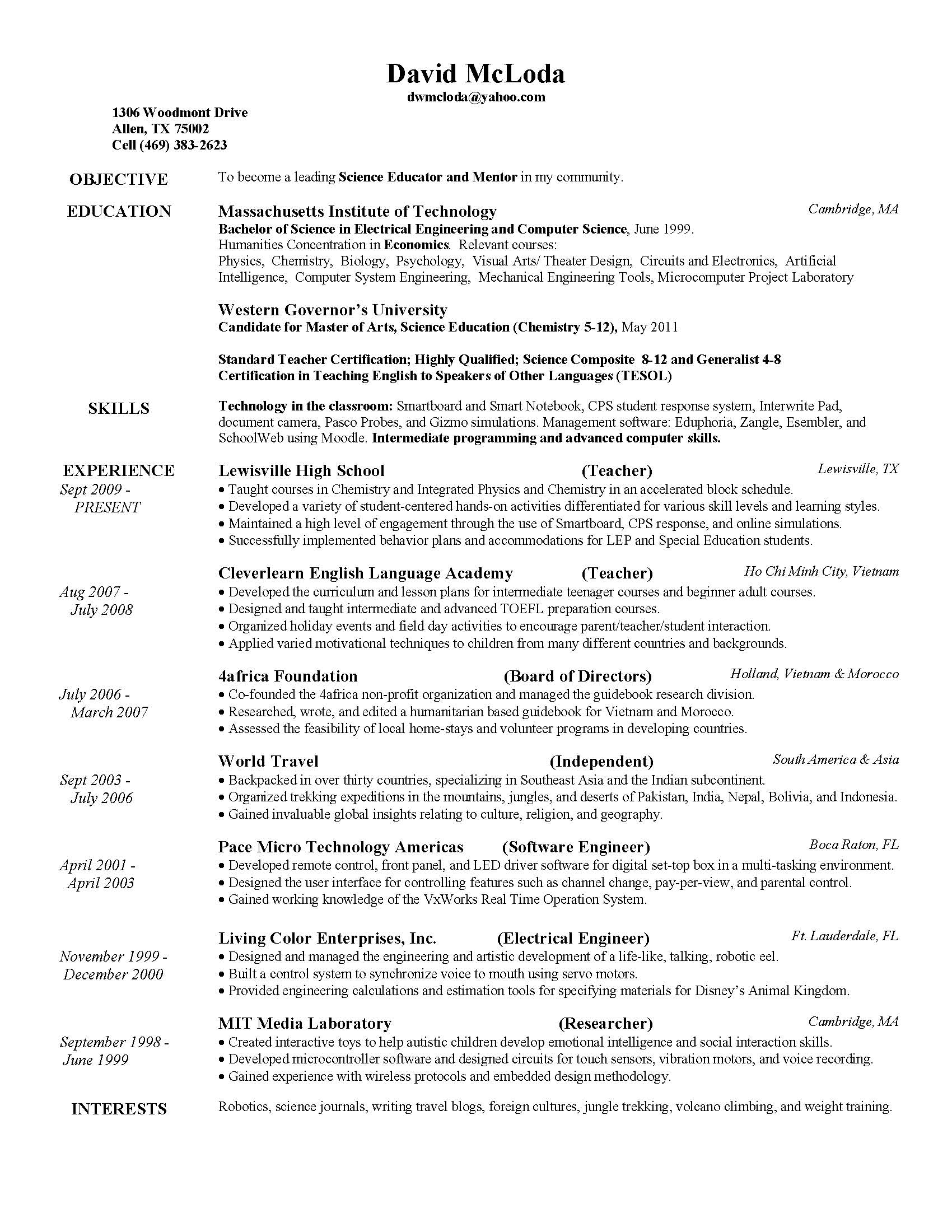 doc resume professional development courses